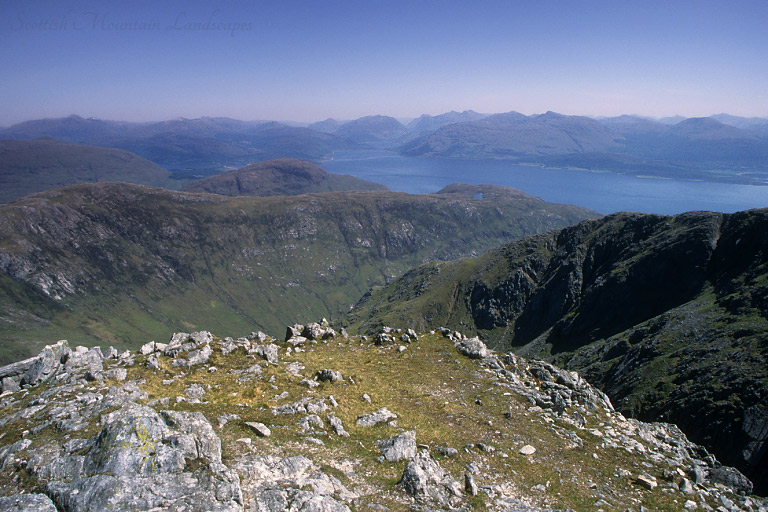 View east from the summit of Garbh Bheinn over Druim an Iubhair and Loch Linnhe to Ballachulish.
