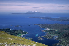 Looking over Loch Ailort, Lochnan Uamh and the Sound of Arisaig to Eigg and Rùm, from the west top of Rois-Bheinn.