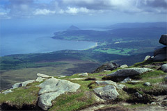 Brodick Bay and Holy Island, from the summit of Goatfell.