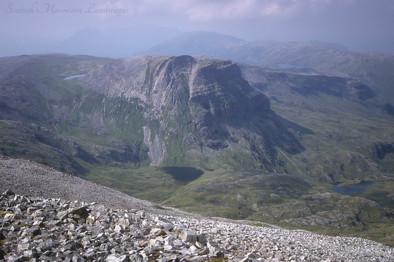Coire a' Mhadaidh and Na Tuadhan, from the summit of Ben More Assynt.