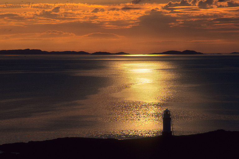 Sunset over the Summer Isles, from Rubha Cadail lighthouse, near Rhue.