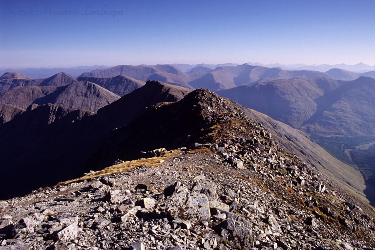 Looking east from the summit of Bidean nam Bian, over Stob Coire Sgreamhach and Glen Etive.