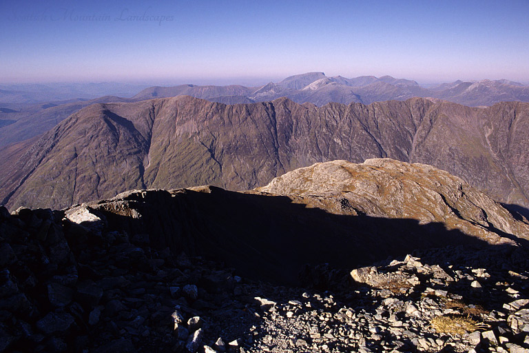 Looking north from the summit of Stob Coire nan Lochan, over Aonach Dubh and the Aonach Eagach.