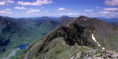 Looking west along the Aonach Eagach, from Meall Dearg.