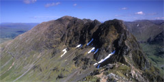 Looking east along the Aonach Eagach, from Stob Coire Lèith.