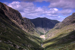"Coire Gabhail- ""Lost Valley"", looking back towards Glencoe."