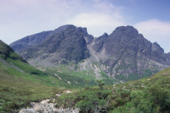 Blà Bheinn, the highest of a group of hills known as the Cuillin Outliers, from the east.