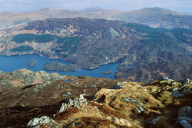 Looking into the heart of The Trossachs, from the summit of Ben Venue.