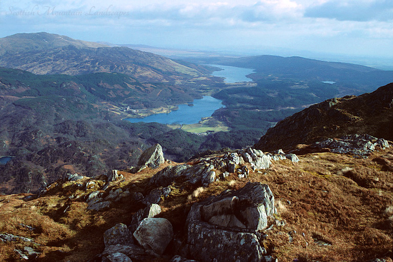 Looking east from the summit of Ben Venue, over Loch Achray and Loch Venachar.