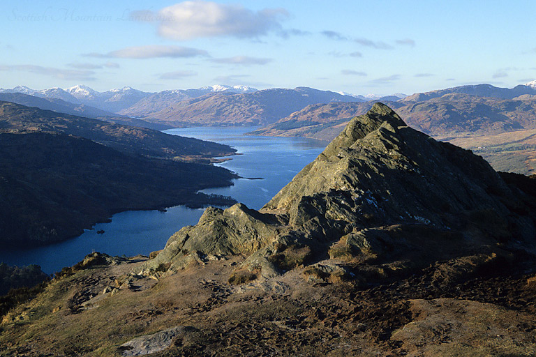 Looking west from the summit of Ben An, over Loch Katrine to the Arrochar Alps.