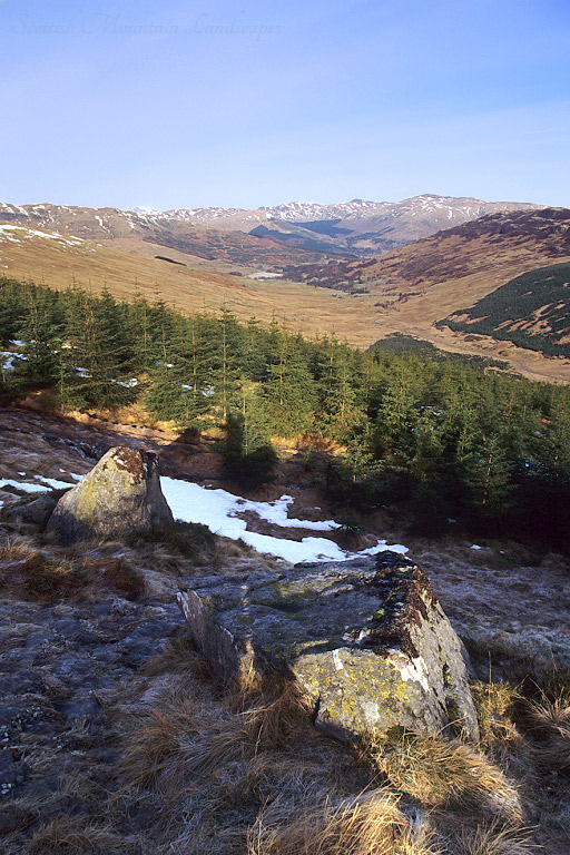 Looking north from the lower slopes of Benvane, along Glen Buckie to the Braes of Balquidder.