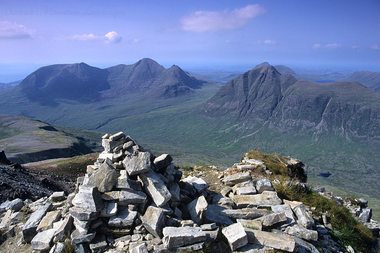Beinn Alligin and Beinn Dearg, from the summit of Mullach an Rathain, Liathach.