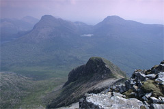 Maol Chean-dearg and An Ruadh-stac, from the summit of Beinn Damh.